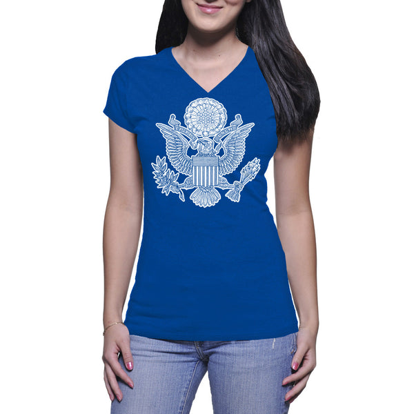 GREAT SEAL LADIES V-NECK TEE - BLUE