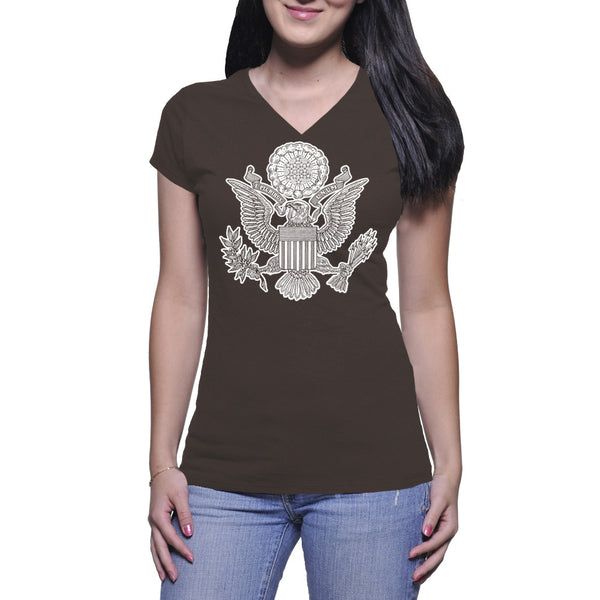 GREAT SEAL LADIES V-NECK TEE - CHOCOLATE