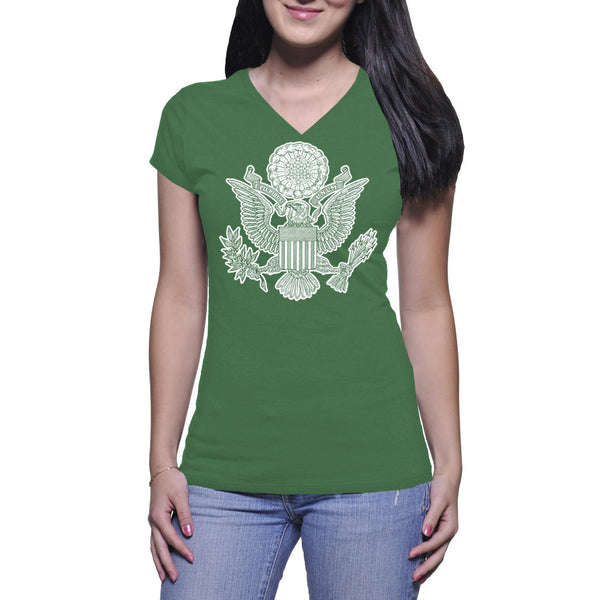 GREAT SEAL LADIES V-NECK TEE - GREEN