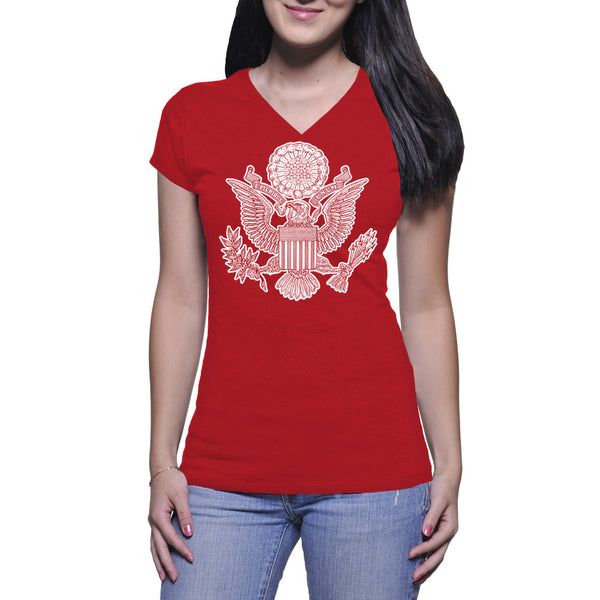 GREAT SEAL LADIES V-NECK TEE - RED