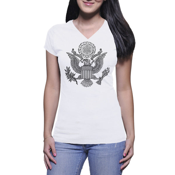 GREAT SEAL LADIES V-NECK TEE - WHITE