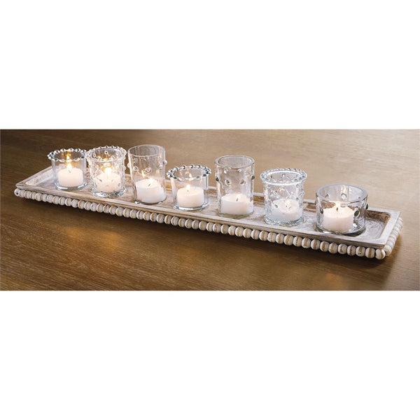 Beaded Tray and Votive Set
