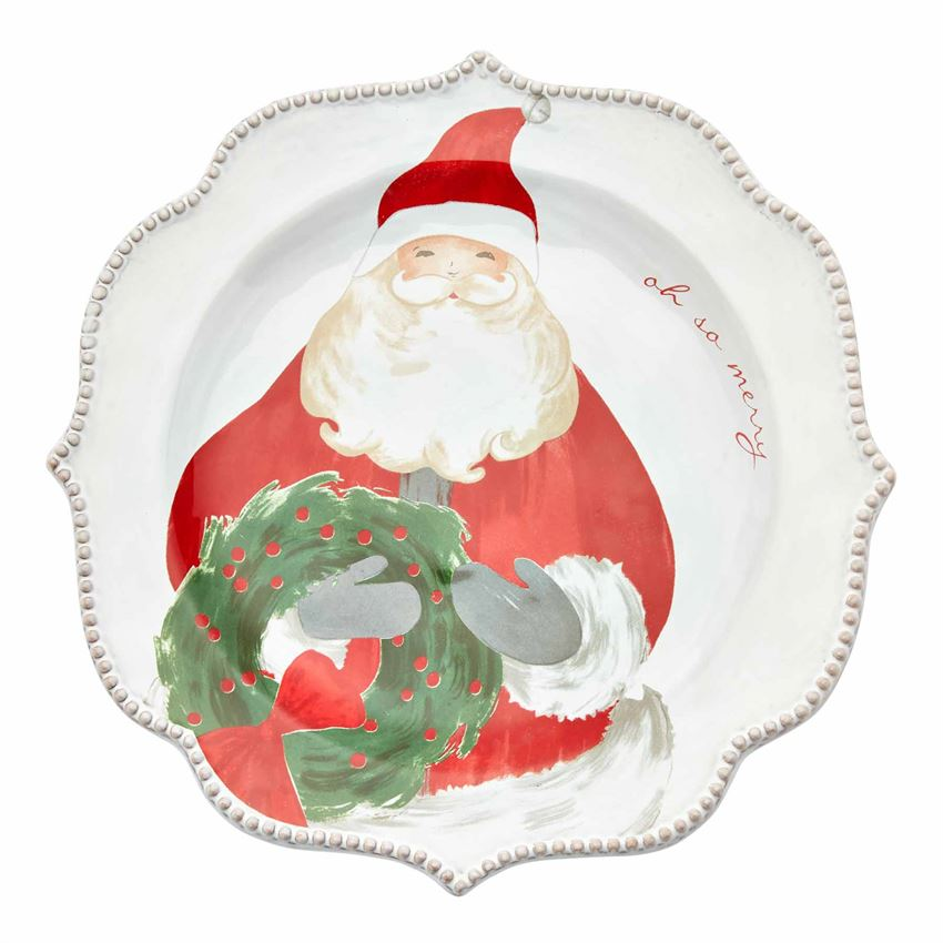 Santa with Wreath Salad Plate