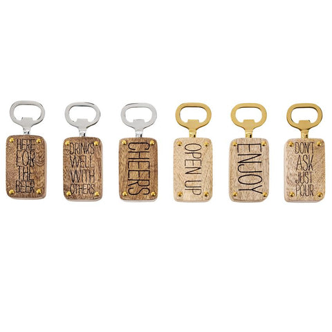 Wood Engraved Bottle Openers, 6 Styles