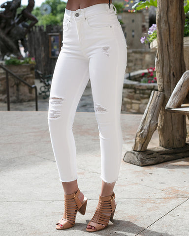 Soft Stretch Denim Cropped White Jeggings