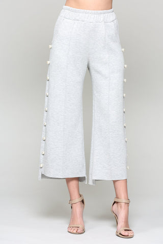 Pearl Trim Pants, Heather Gray