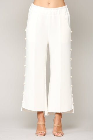 Pearl Trim Pants, White