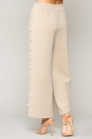 Pearl Trim Pants, Beige