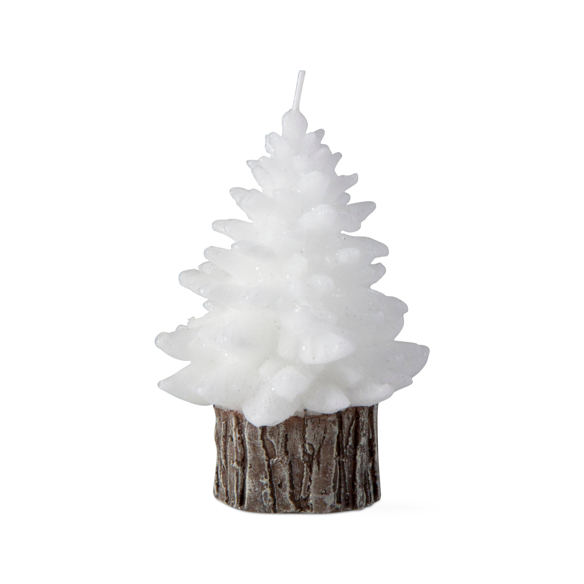 White spruce rustic tree candle, small
