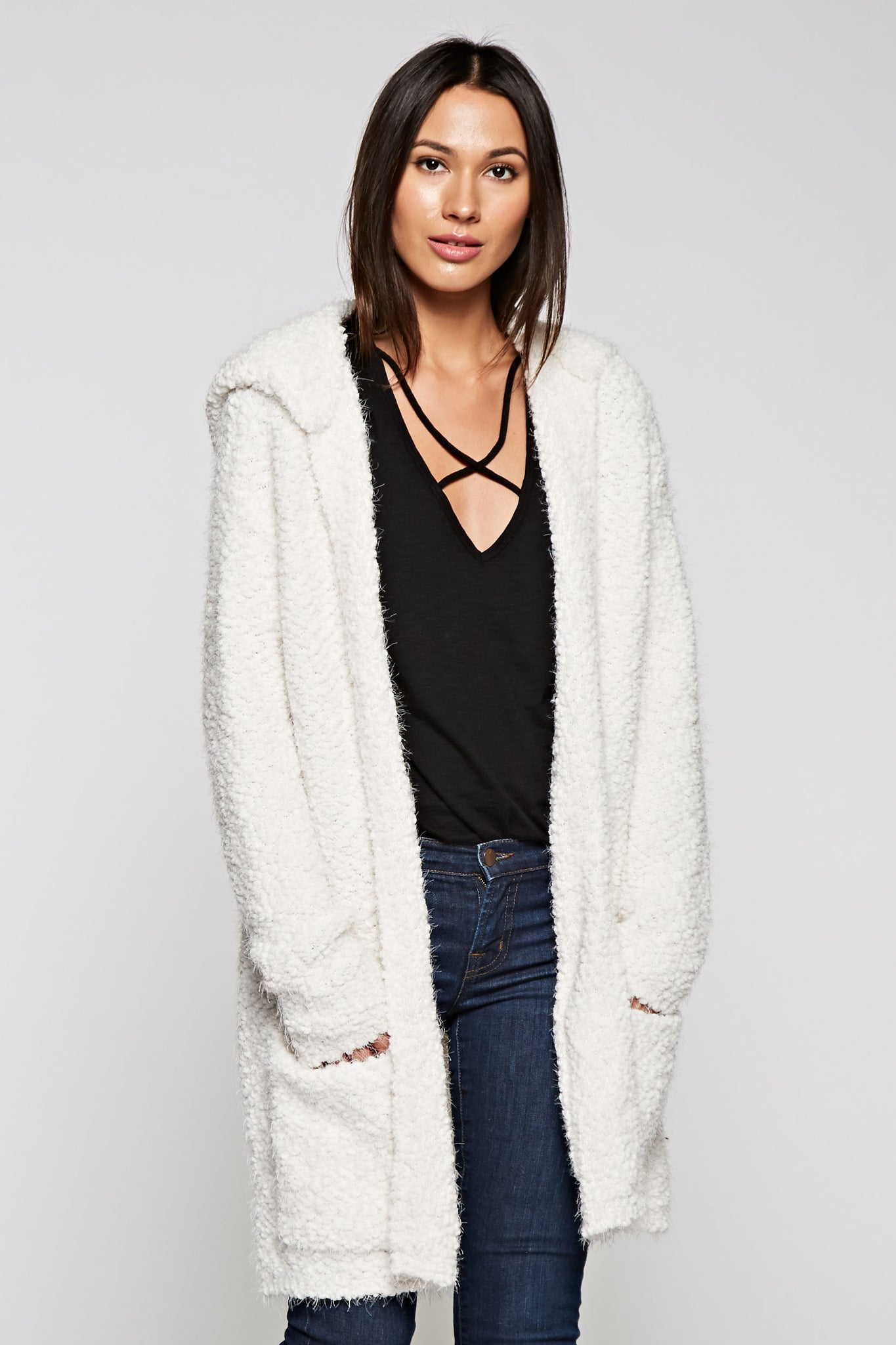 Cozy Long Sweater with Hood,