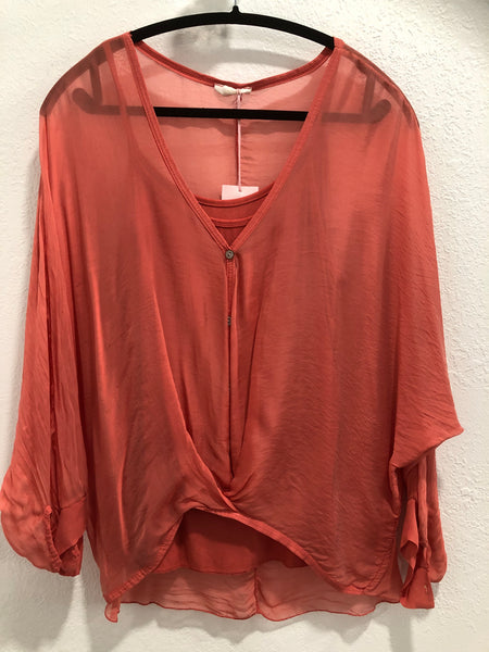 Silk Sheer Twist Blouse with Tank, 5 Colors