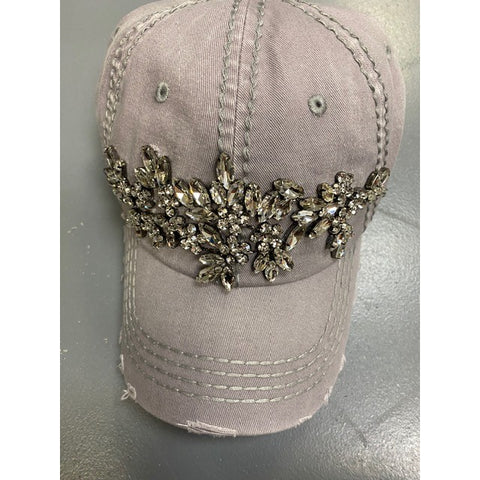 Glitz Floral Spray Distressed Hat, Light Gray