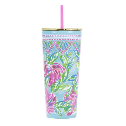 Tumbler with Lid, Totally Blossom
