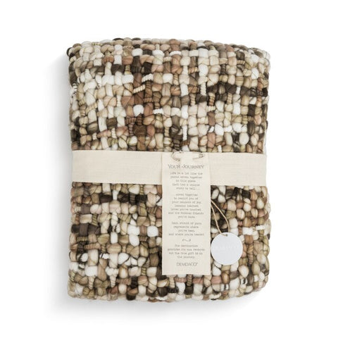 Woven Throw Comfort Blanket, Brown/Cream