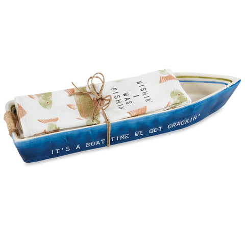Boat Cracker Dish & Towel, Blue