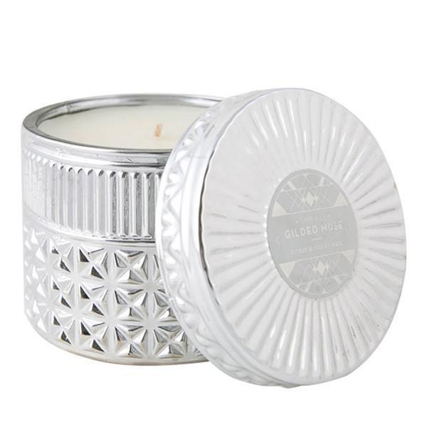 Gilded Muse Silver Candle, Citrus & Violet