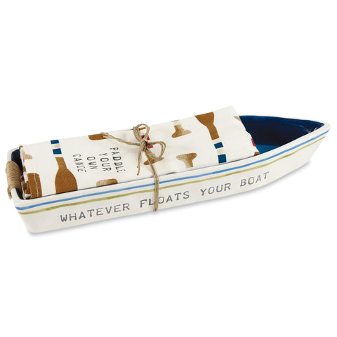 Boat Cracker Dish & Towel, Cream