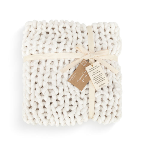 Chunky Knit Comfort Blanket, Cream