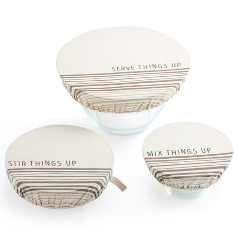 Set of 3 Dish Covers, Stir Things Up