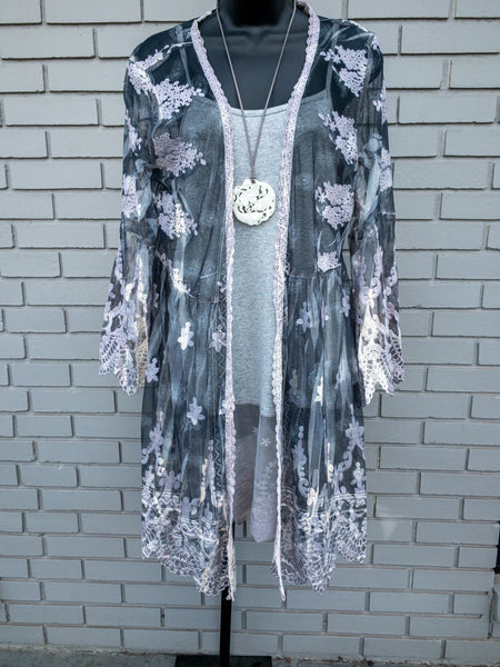 Lavender Embroidered Grey Cardigan