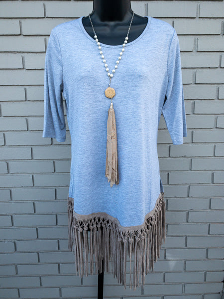 Grey Fringe Tunic