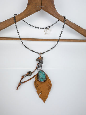 Leather Feather and Turquoise Chain