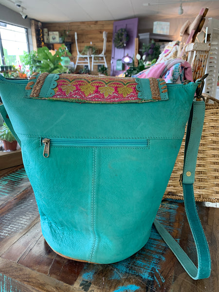 Boho Indie Aqua Leather Handbag
