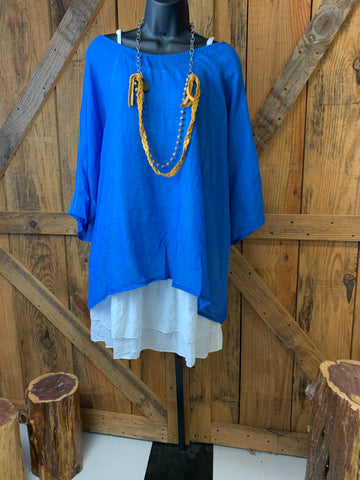 Blue Tunic with White Underlay