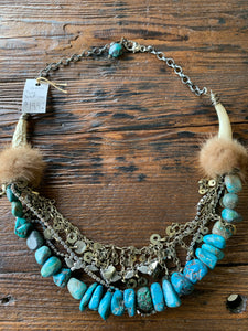 BOHO Tusk and Turquoise Statement Necklace