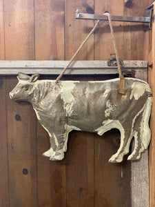 Large  Embossed Tin Cow