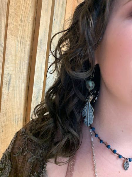 Feather& Stone Verdigris earrings