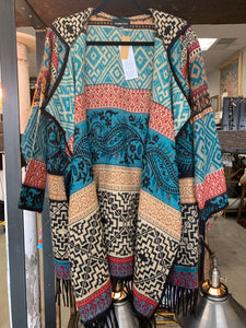 Multi-Color Teal Hooded Sweater Coat