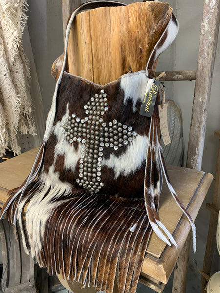 Raviani Fringe Brown and White Cowhide Shoulder Bag with Cross