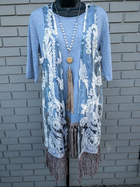 Grey Lace and Fringe Vest