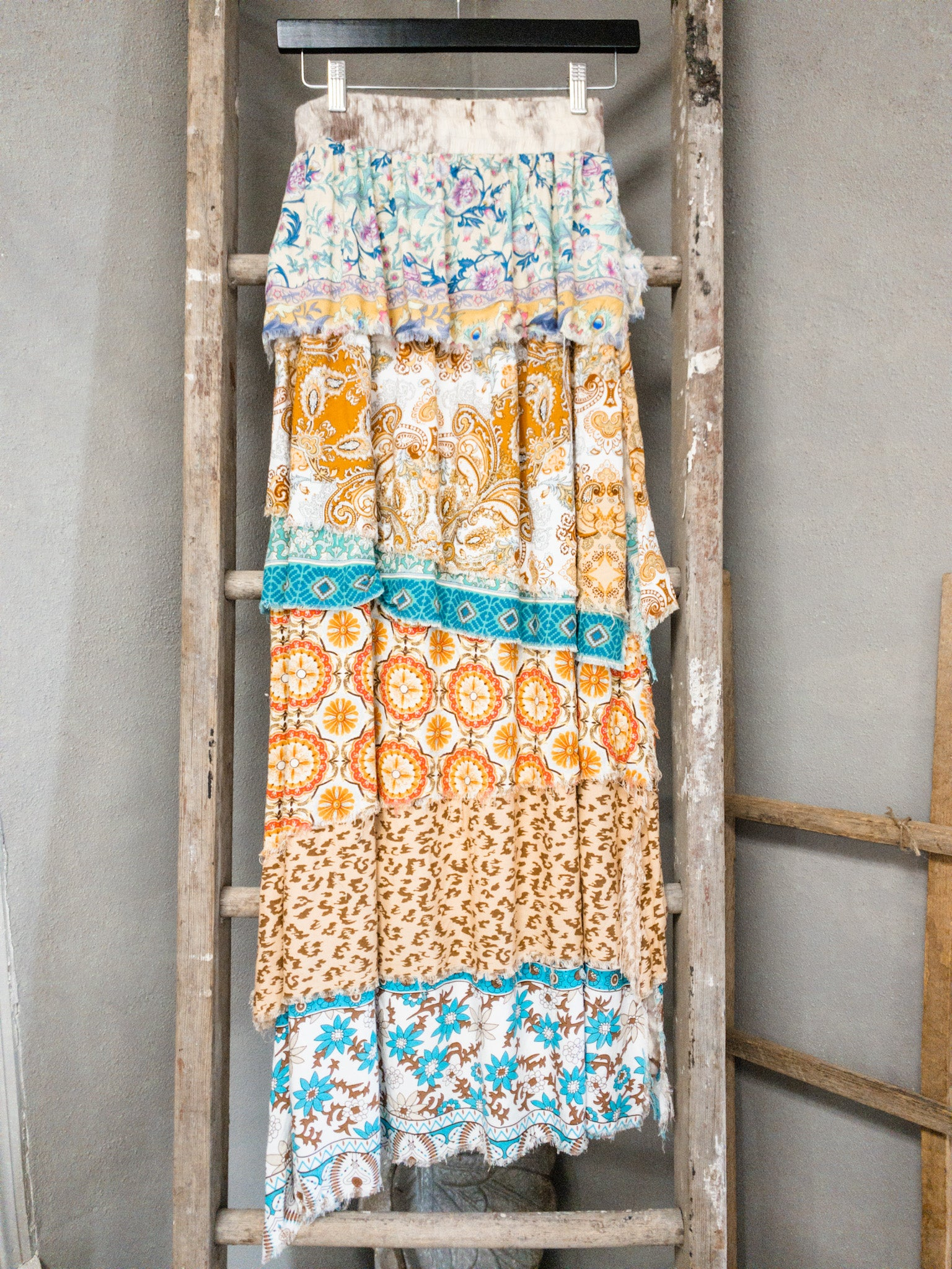 Mixed Print Tiered Maxi Skirt