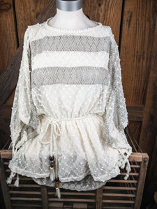 Grey and Ivory Stripe Lace Top