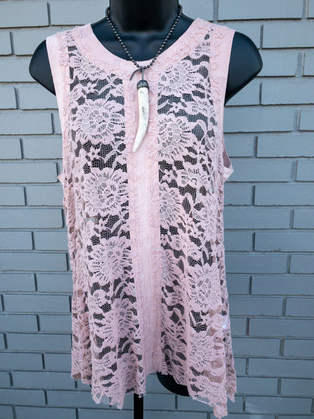 Dusty Pink Lace Up Tank