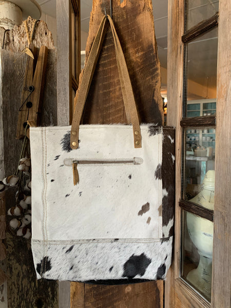 Cow Hide Bag Black and White