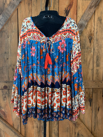 Blue and orange print blouse