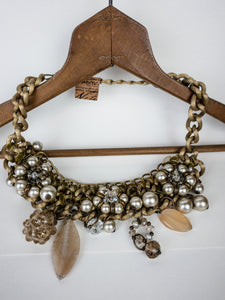 Green Velvet Embellished Necklace