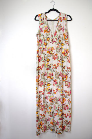 Handmade Ikat Sleeveless Maxi Dress - Size 14