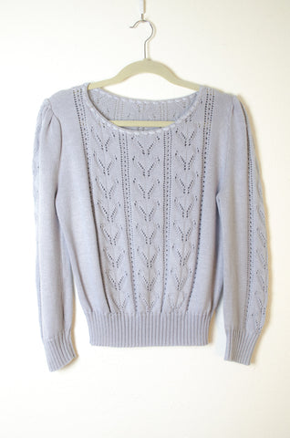 Knit Lace Paneled Pullover Sweater Blouse - Size S/M