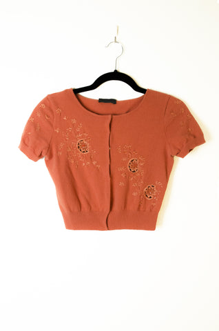 Calberta Ferreti Cropped Cardigan with Embroider and Bead Embellishment - Size S