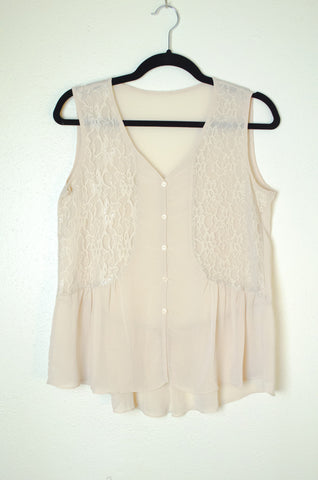 Lace Panel Button Down Blouse with Ruffle Peplum - Size M/L