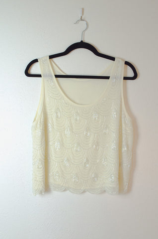 Beaded Scalloped-Edge Cropped Sleeveless Blouse - Size M