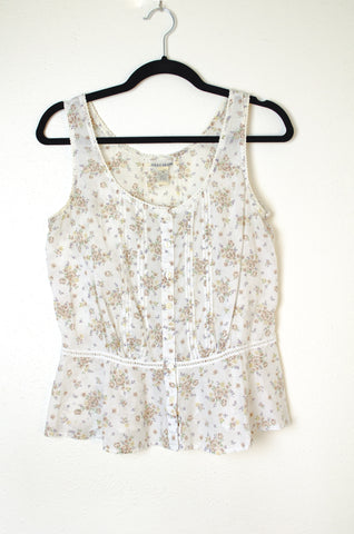 Lucky Sleeveless Floral Blouse with Peplum - Size M
