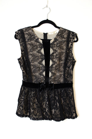 All Over Lace Sleeveless Blouse with Velvet Bow Trim - Size M