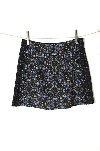 Zara Folk Print Mini Skirt with Lace Embellishment - Size S