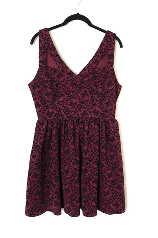 Flocked Skater Dress with Cutout Detail - Size 12