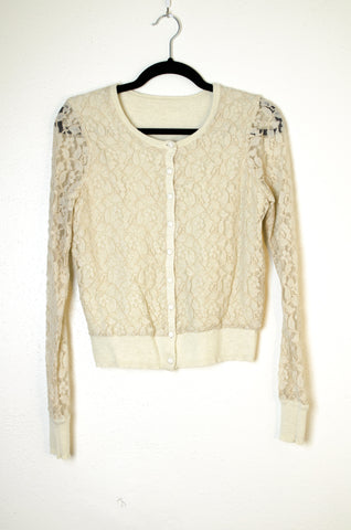Lucky Lace Cardigan with Sheer Sleeves - Size S